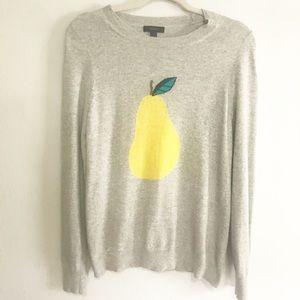 J Crew Gray & Yellow Pear Sweater Sz M